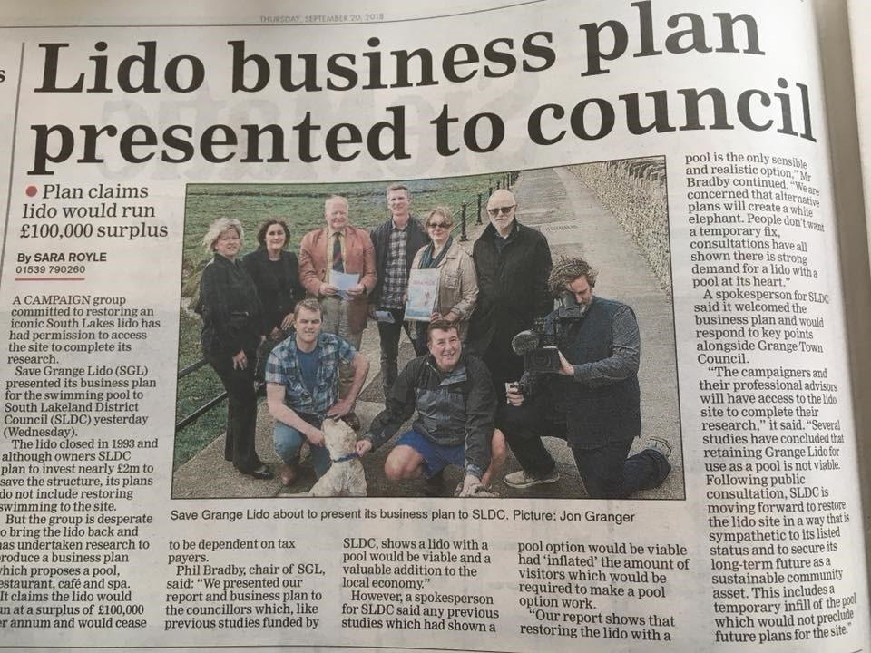 Save Grange Lido presents it's business plan to South Lakes District Council