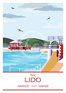 A vintage-style, fine art print of Grange-over-Sands Lido.